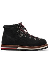 Moncler Textured Leather Ankle Boots Black