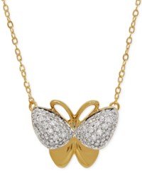 Macy's Diamond Butterfly Pendant Necklace 1 10 Ct. T.W. In 10K Gold
