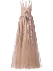 Elie Saab Sequin Embroidery Long Dress Nude And Neutrals
