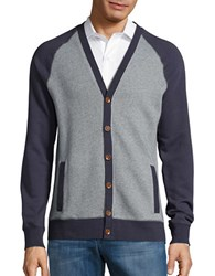 Black Brown Button Front Terry Cardigan Soft Navy