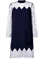 Huishan Zhang Sheer Lace Panel Cocktail Dress Blue