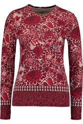 Tory Burch Jasmine Printed Cotton Jersey Top Red
