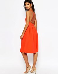 Asos Bonded Mesh Midi Dress With Cross Back Coral Navy
