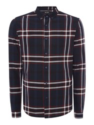 Only And Sons Checked Long Sleeve Shirt Dark Navy