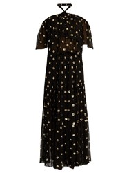 Temperley London Jolie Embellished Off The Shoulder Chiffon Gown Black Gold