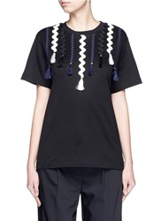 Toga Archives Squiggle Ribbon Applique Jersey T Shirt Black