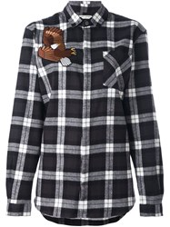 Each X Other Embroidered Eagle Plaid Shirt Black