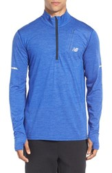 New Balance Men's Athletic Quarter Zip Running Jacket Marine Heather