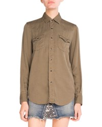 Saint Laurent Twill Western Snap Down Shirt Olive