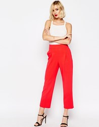 Asos Occasion High Waist Tailored Peg Trouser Co Ord Red