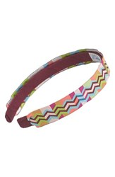 L. Erickson Satin Ribbon Headband Pink Zig Zag Berry Lime Coral