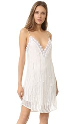 Rodarte Hand Beaded Slip Dress White Silver