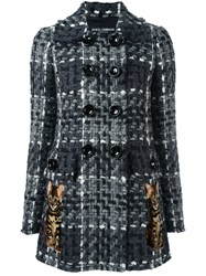 Dolce And Gabbana Boucle Short Coat Grey