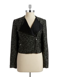Anne Klein Tweed Biker Blazer Charcoal