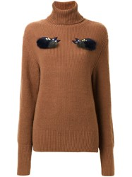 Muveil Roll Neck Embellished Sweater Brown