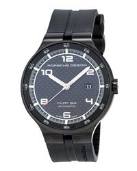 Porsche Design Flat Six Chronograph Watch W Rubber Strap Black