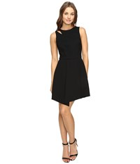 Adelyn Rae Fit And Flare Dress With Asymmetrical Hem Black Women's Dress