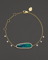 Meira T 14K Yellow Gold Oval Blue Opal And Diamond Bracelet Yellow White