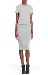 Junior Women's Lily White Ribbed Two Piece Midi Dress Grey