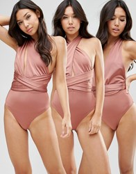 Asos Multiway Swimsuit Shiny Brown