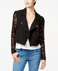 Material Girl Juniors' Lace Trim Moto Jacket Only At Macy's Caviar Black