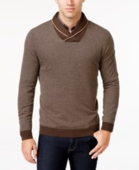 Tasso Elba Men's Shawl Collar Sweater Only At Macy's Brown Combo