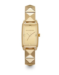 Karl Lagerfeld Unisex Goldtone Square Watch With Pyramid Strap