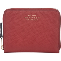 Smythson Panama Zip Coin Purse Red