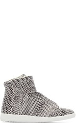 Maison Martin Margiela Black And White Snakeskin Future High Top Sneakers