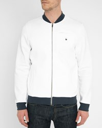 Le Coq Sportif White Track Jacket With Navy Contrast Blue