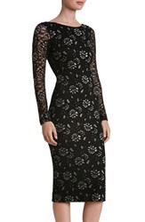 Dress The Population Women's Emery Lace Body Con Midi Black Silver