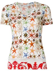 Versace Collection Sea Star Print T Shirt Nude And Neutrals