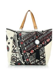 Star Mela Dara Embroidered Mirror Canvas Tote Ivory Black Multi