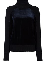 Dkny Velvet Panel Jumper Blue