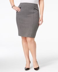 Alfani Plus Size Jacquard Houndstooth Pencil Skirt Only At Macy's Soft Woven Black