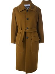 Dsquared2 Long Belted Coat Brown