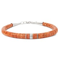Peyote Bird Pilar Lovato Sterling Silver And Apple Coral Bracelet Orange