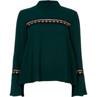 River Island Womens Dark Green Bell Sleeve Top With Lace Detail