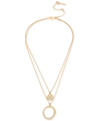 Kenneth Cole New York Gold Tone Double Layer Pendant Necklace