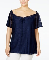 Ny Collection Plus Size Off The Shoulder Lace Peasant Blouse Navy Captivate