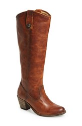 Women's Frye 'Jackie Button' Tall Boot Cognac Leather