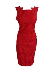 Feverfish Lace Pleat Dress Red