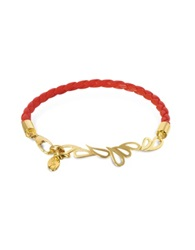 Sho London Mari Fiendship Leather And Silver Vermeil Bangle Red