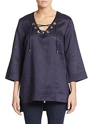 August Silk Lace Front Linen Tunic Top Perfect Navy