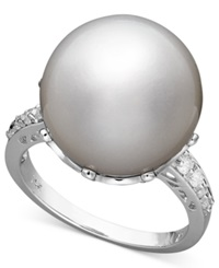 Macy's 14K White Gold Ring Cultured South Sea Pearl 14Mm And Diamond 1 5 Ct. T.W. Ring Black