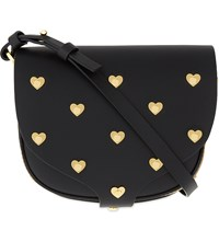 Sophie Hulme Barnsbury Heart Studded Saddle Bag Black
