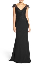 Hayley Paige Occasions Women's Cap Sleeve Lace And Chiffon Trumpet Gown Black Black