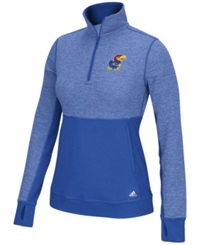 Adidas Women's Kansas Jayhawks Driven Quarter Zip Pullover Royalblue