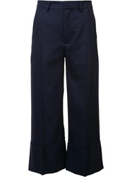 Sea Wide Leg Cropped Pants Blue