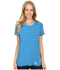 Carhartt Force T Shirt Striped Island Blue Heather Women's Short Sleeve Pullover